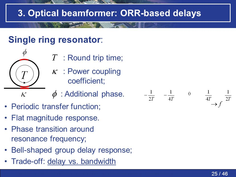 25 / 46MWP » MWP in PAAs » SMART » Conclusions » Questions » 3. Optical beamformer: ORR-based delays f Group delay Phase Single ring resonator: T : Ro