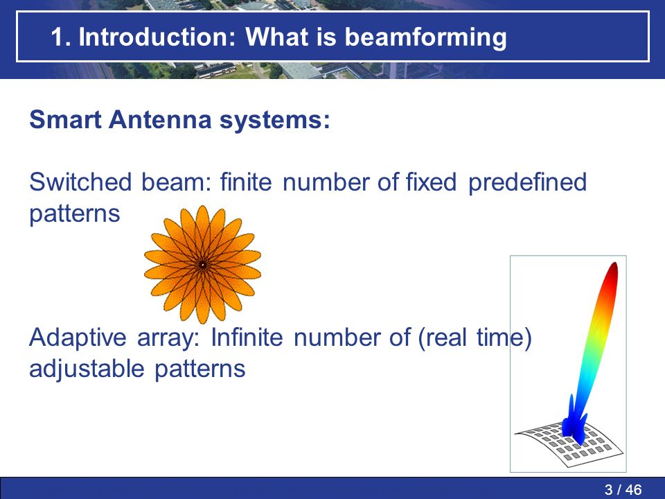 3 / 46MWP » MWP in PAAs » SMART » Conclusions » Questions » 1. Introduction: What is beamforming Smart Antenna systems: Switched beam: finite number o