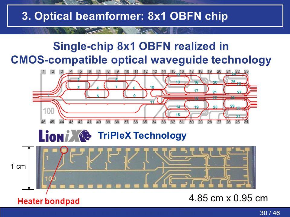 30 / 46MWP » MWP in PAAs » SMART » Conclusions » Questions » 3. Optical beamformer: 8x1 OBFN chip 4.85 cm x 0.95 cm 1 cm Heater bondpad TriPleX Techno