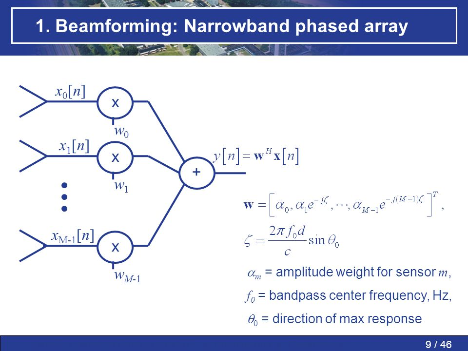 9 / 46MWP » MWP in PAAs » SMART » Conclusions » Questions » 1. Beamforming: Narrowband phased array + w0w0 x w1w1 x w M-1 x m = amplitude weight for s