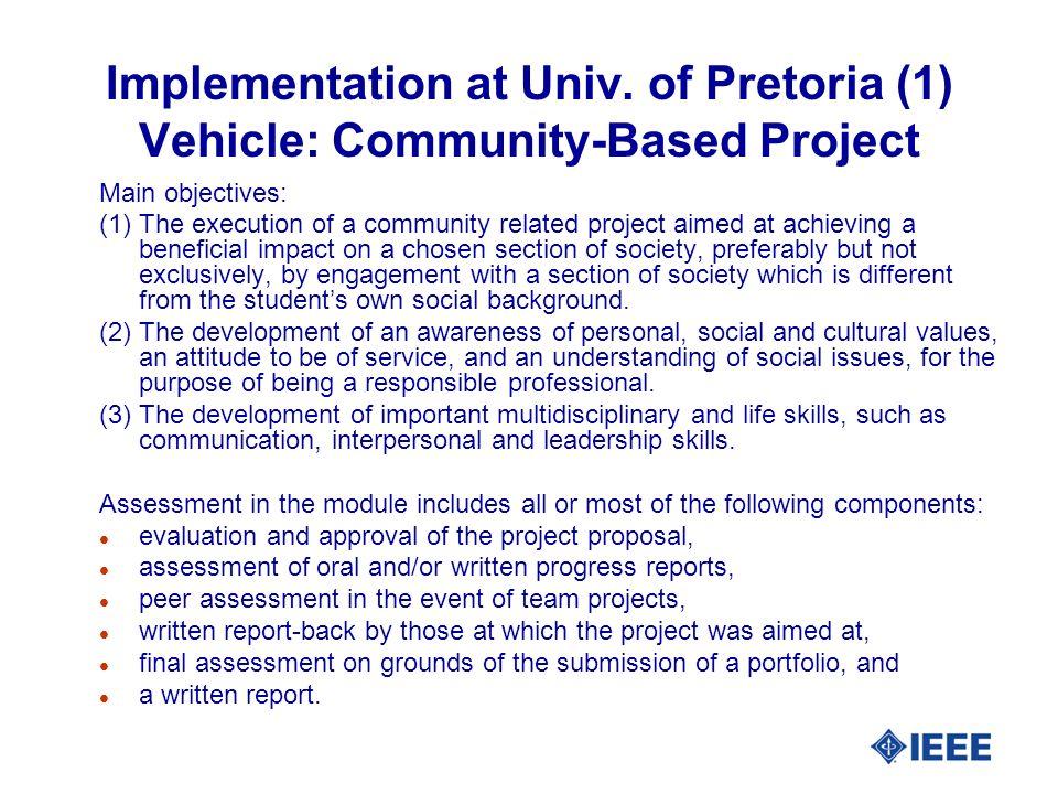 Implementation at Univ. of Pretoria (2) Project Example (1): Grinder