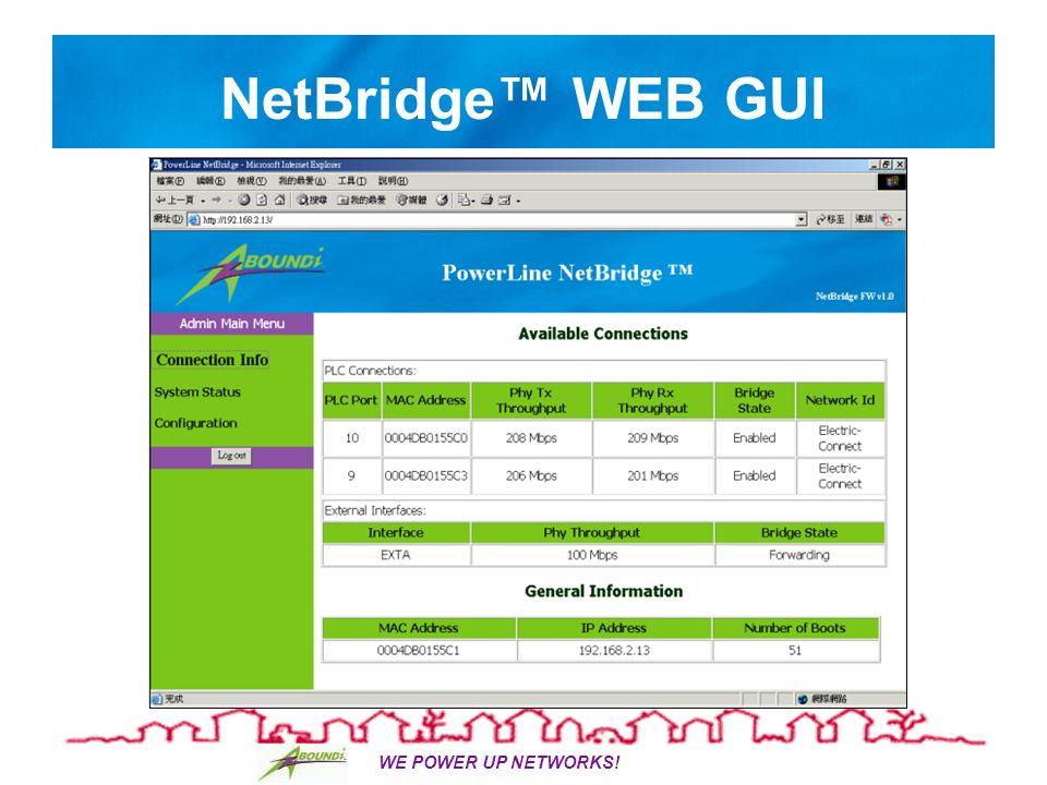 WE POWER UP NETWORKS! NetBridge WEB GUI