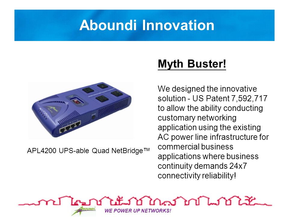 WE POWER UP NETWORKS. Aboundi Innovation Myth Buster.