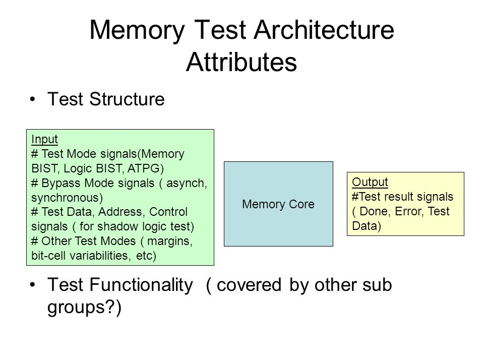 Memory Test Architecture Attributes Test Structure Test Functionality ( covered by other sub groups ) Memory Core Input # Test Mode signals(Memory BIST, Logic BIST, ATPG) # Bypass Mode signals ( asynch, synchronous) # Test Data, Address, Control signals ( for shadow logic test) # Other Test Modes ( margins, bit-cell variabilities, etc) Output #Test result signals ( Done, Error, Test Data)