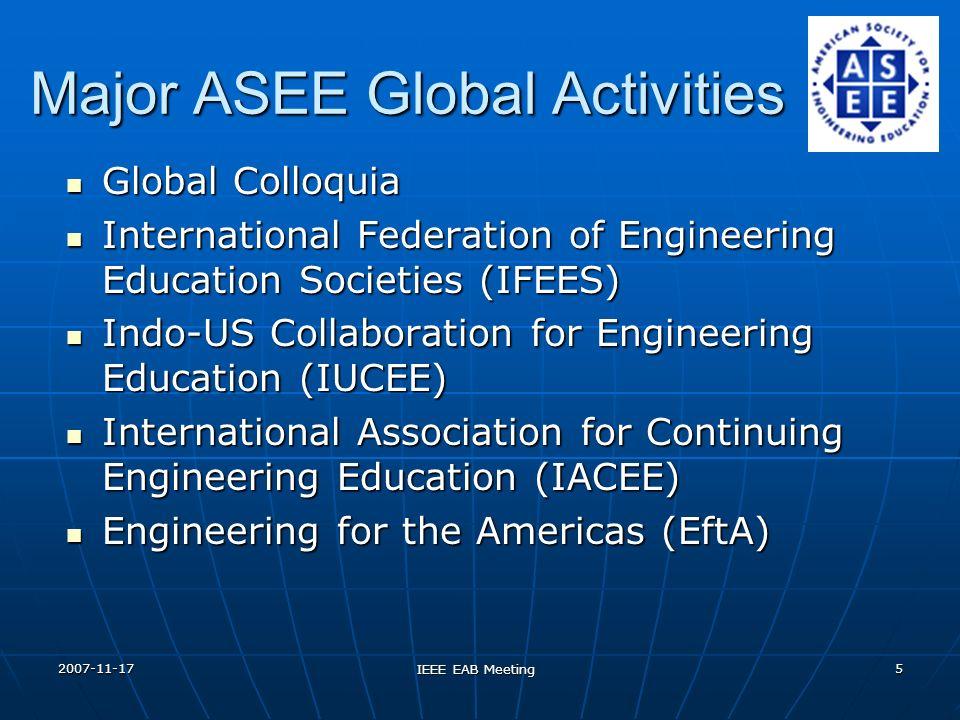 2007-11-17 IEEE EAB Meeting 5 Major ASEE Global Activities Global Colloquia Global Colloquia International Federation of Engineering Education Societi