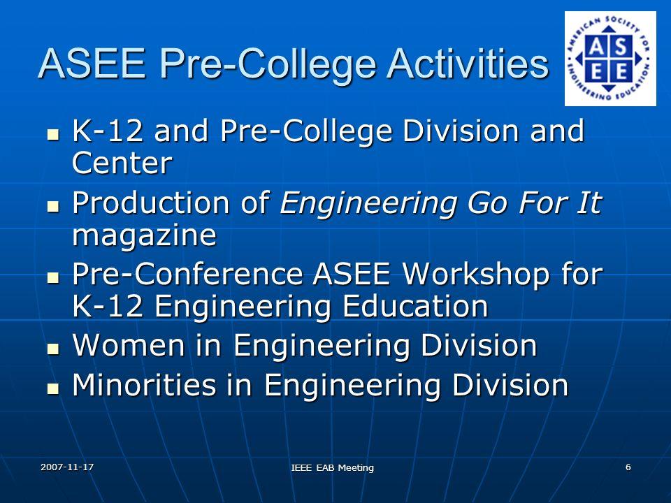 2007-11-17 IEEE EAB Meeting 6 ASEE Pre-College Activities K-12 and Pre-College Division and Center K-12 and Pre-College Division and Center Production