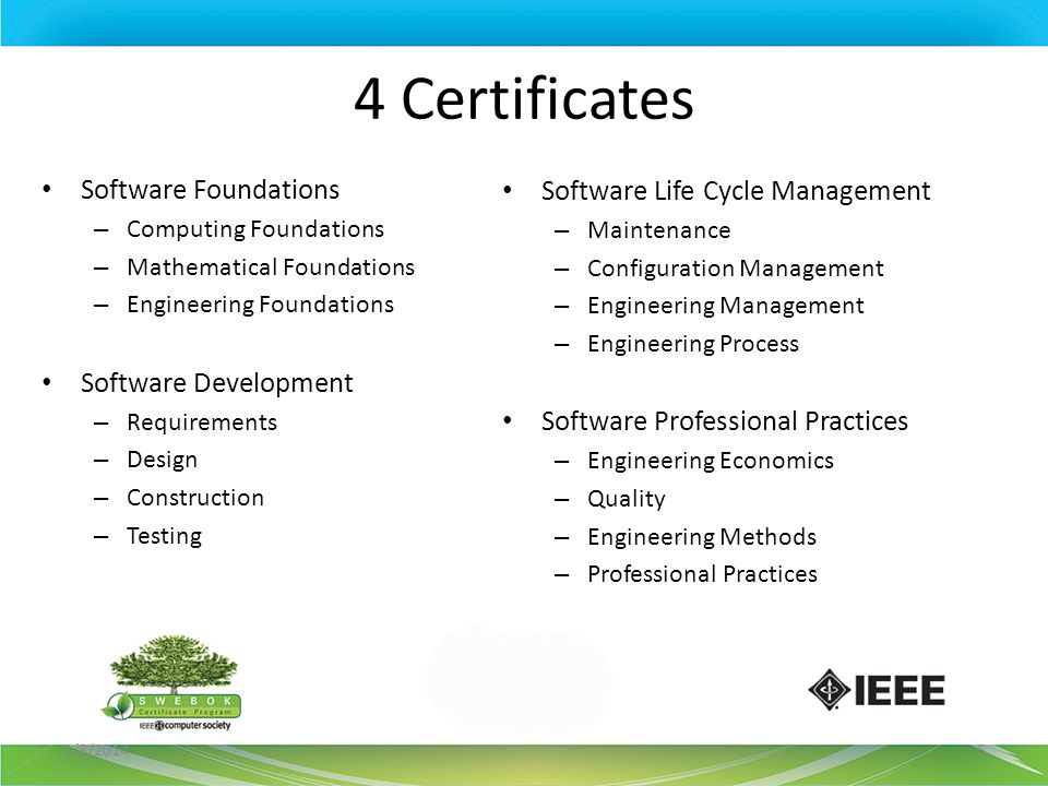 4 Certificates Software Foundations – Computing Foundations – Mathematical Foundations – Engineering Foundations Software Development – Requirements –