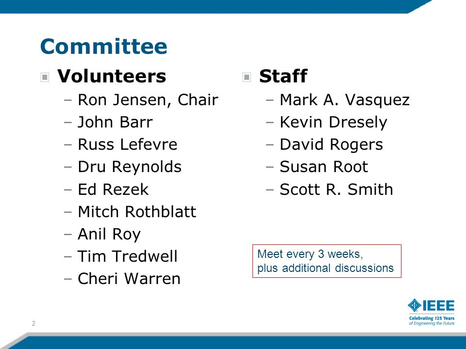 Committee Volunteers –Ron Jensen, Chair –John Barr –Russ Lefevre –Dru Reynolds –Ed Rezek –Mitch Rothblatt –Anil Roy –Tim Tredwell –Cheri Warren Staff –Mark A.