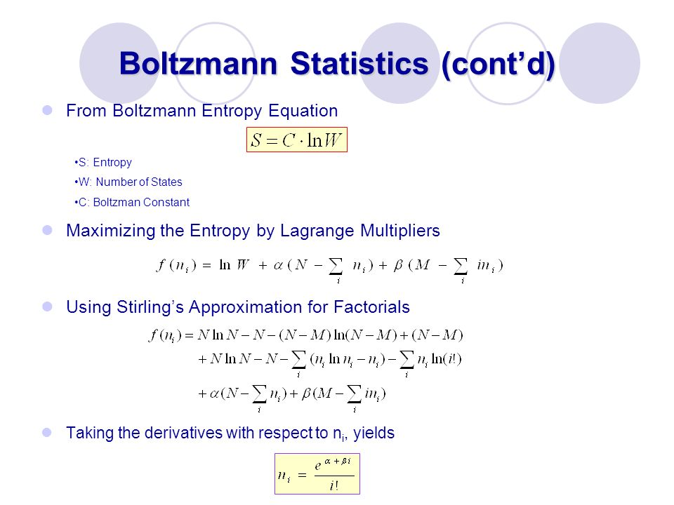 Boltzmann Statistics (contd) From Boltzmann Entropy Equation Maximizing the Entropy by Lagrange Multipliers Using Stirlings Approximation for Factoria