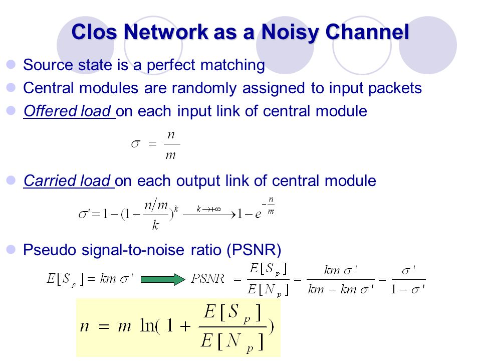 Clos Network as a Noisy Channel Source state is a perfect matching Central modules are randomly assigned to input packets Offered load on each input l