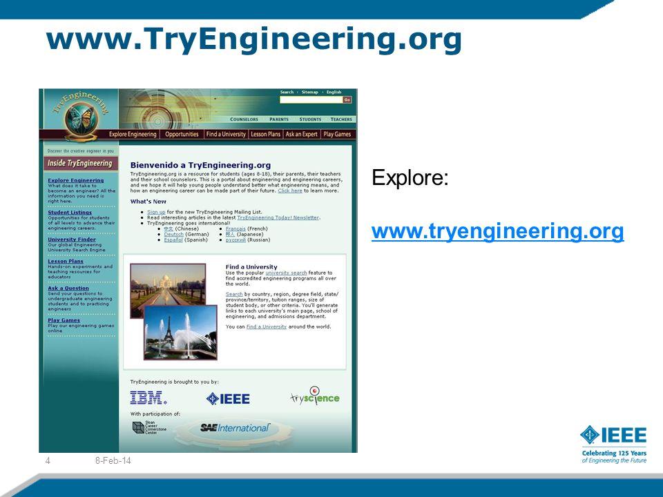 www.TryEngineering.org 8-Feb-144 Explore: www.tryengineering.org