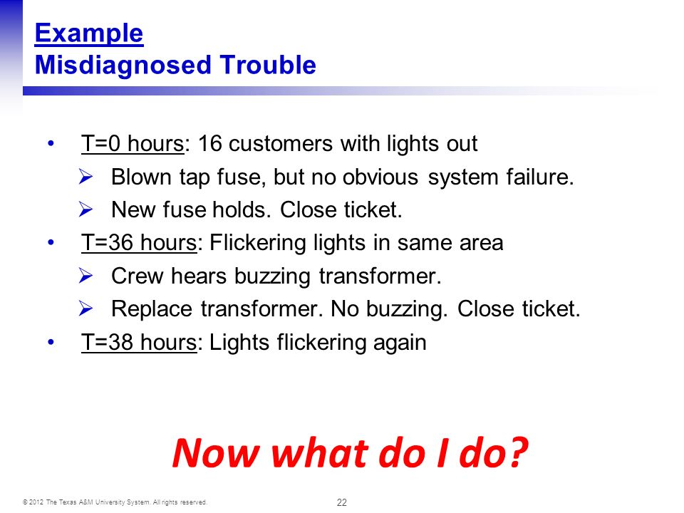 22 © 2012 The Texas A&M University System. All rights reserved. Example Misdiagnosed Trouble T=0 hours: 16 customers with lights out Blown tap fuse, b