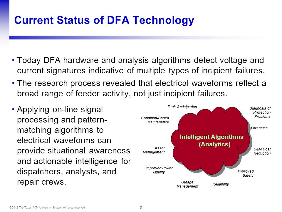 8 © 2012 The Texas A&M University System. All rights reserved. Current Status of DFA Technology Today DFA hardware and analysis algorithms detect volt