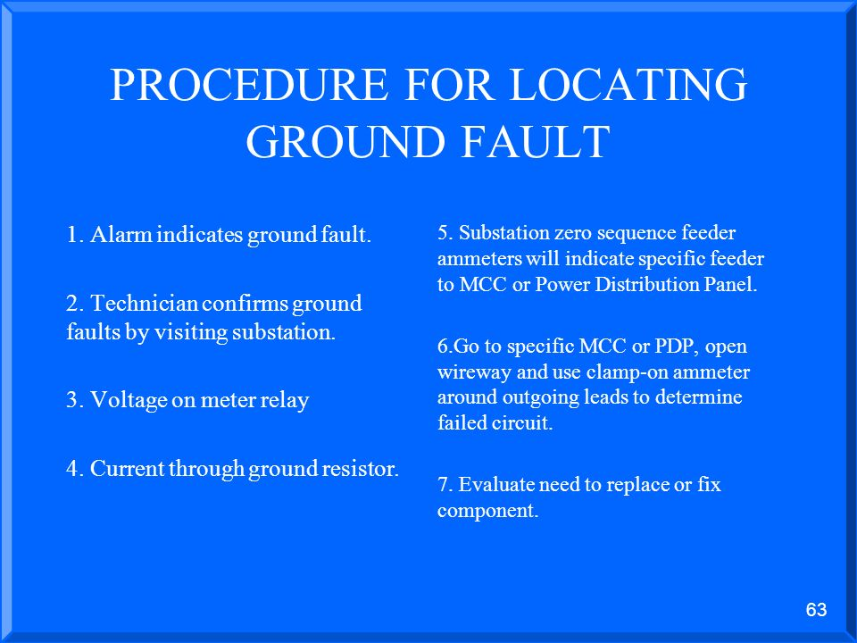 62 HOW DO YOU FIND GROUND FAULTS? Ungrounded Solidly grounded Low resistance grounded High resistance grounded
