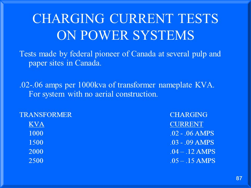 86 HIGH RESISTANCE GROUNDING – 2.4KV SYSTEM CALCULATION OF SYSTEM CHARGING CURRENT
