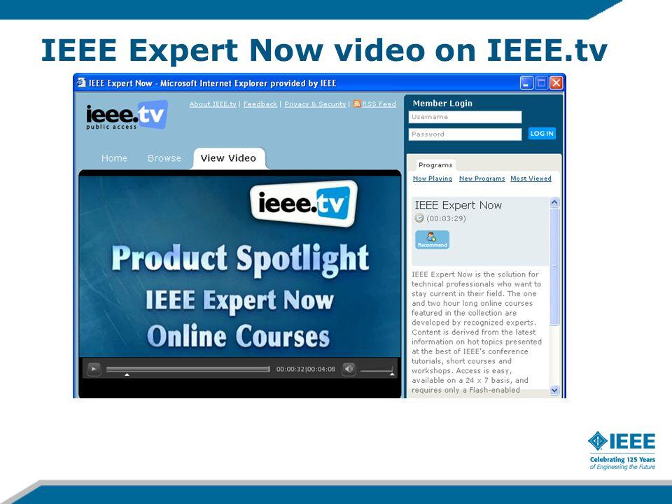 IEEE Expert Now video on IEEE.tv