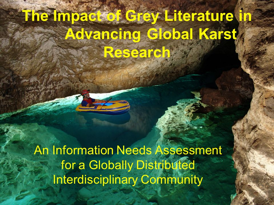 The Impact of Grey Literature in Advancing Global Karst Research An Information Needs Assessment for a Globally Distributed Interdisciplinary Community