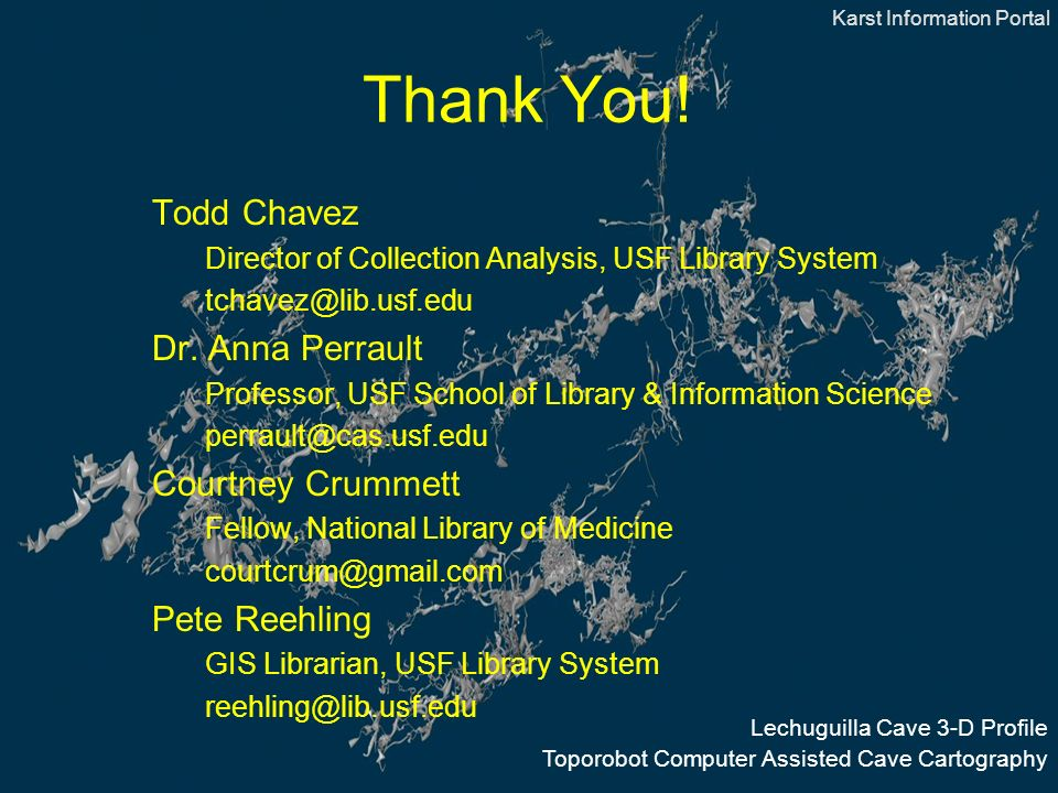 Thank You. Todd Chavez Director of Collection Analysis, USF Library System Dr.