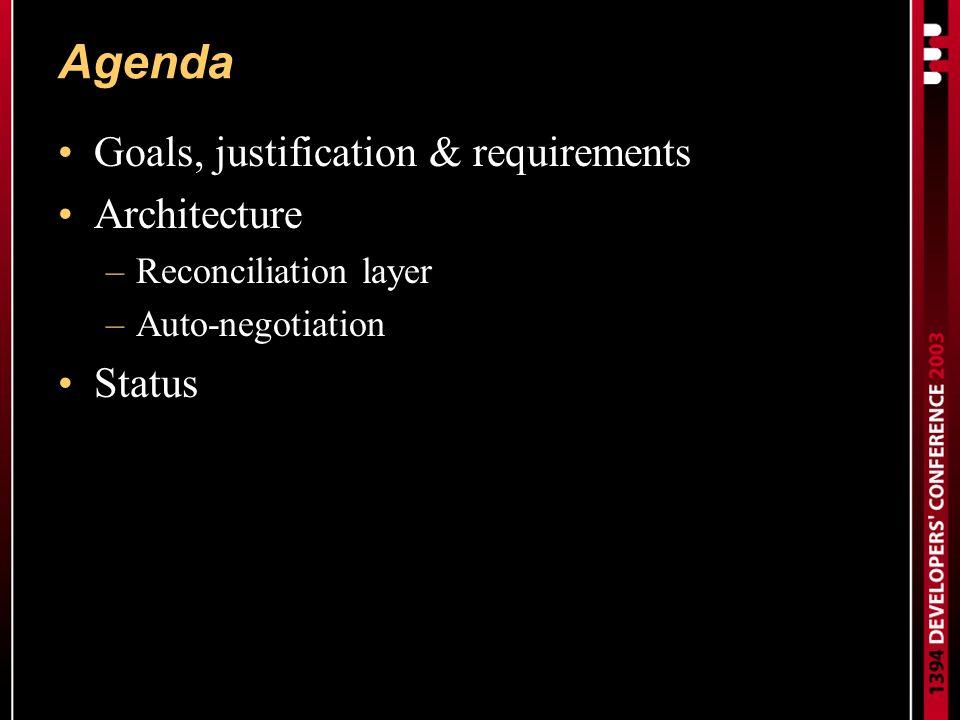 Agenda Goals, justification & requirements Architecture –Reconciliation layer –Auto-negotiation Status