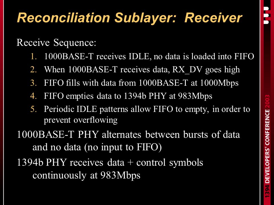 Reconciliation Sublayer: Receiver Receive Sequence: 1.1000BASE-T receives IDLE, no data is loaded into FIFO 2.When 1000BASE-T receives data, RX_DV goes high 3.FIFO fills with data from 1000BASE-T at 1000Mbps 4.FIFO empties data to 1394b PHY at 983Mbps 5.Periodic IDLE patterns allow FIFO to empty, in order to prevent overflowing 1000BASE-T PHY alternates between bursts of data and no data (no input to FIFO) 1394b PHY receives data + control symbols continuously at 983Mbps