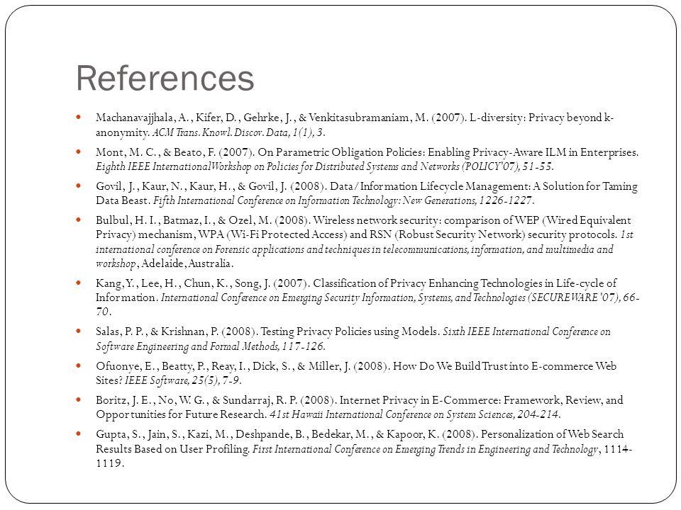 References Machanavajjhala, A., Kifer, D., Gehrke, J., & Venkitasubramaniam, M. (2007). L-diversity: Privacy beyond k- anonymity. ACM Trans. Knowl. Di