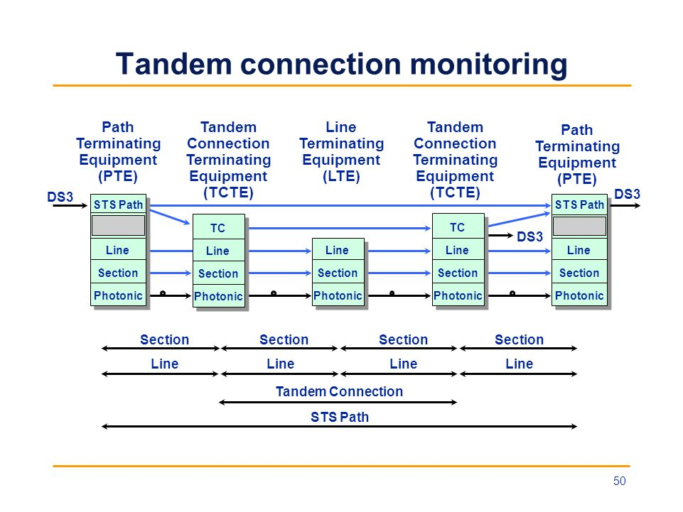 Tandem connection monitoring STS Path Line Section Photonic STS Path DS3 Section Line Tandem Connection STS Path Path Terminating Equipment (PTE) Tand
