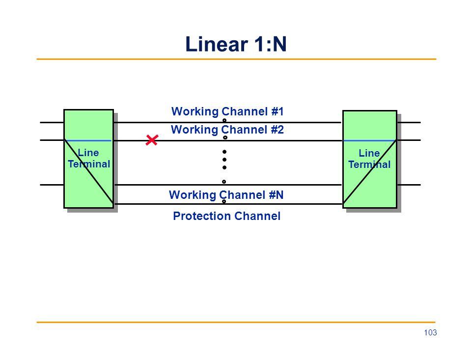 Linear 1:N Line Terminal Line Terminal Line Terminal Line Terminal Working Channel #1 Protection Channel Working Channel #2 Working Channel #N 103