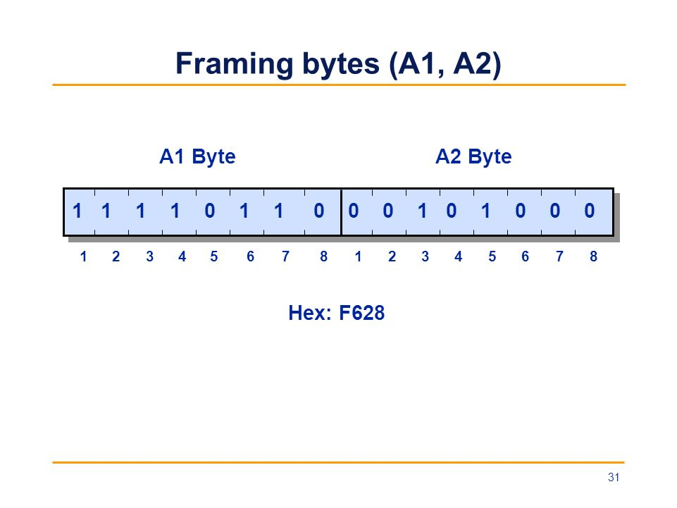 Framing bytes (A1, A2) 1 1 1 1 0 1 1 0 0 0 1 0 1 0 0 0 A1 ByteA2 Byte 1234567812345678 Hex: F628 31