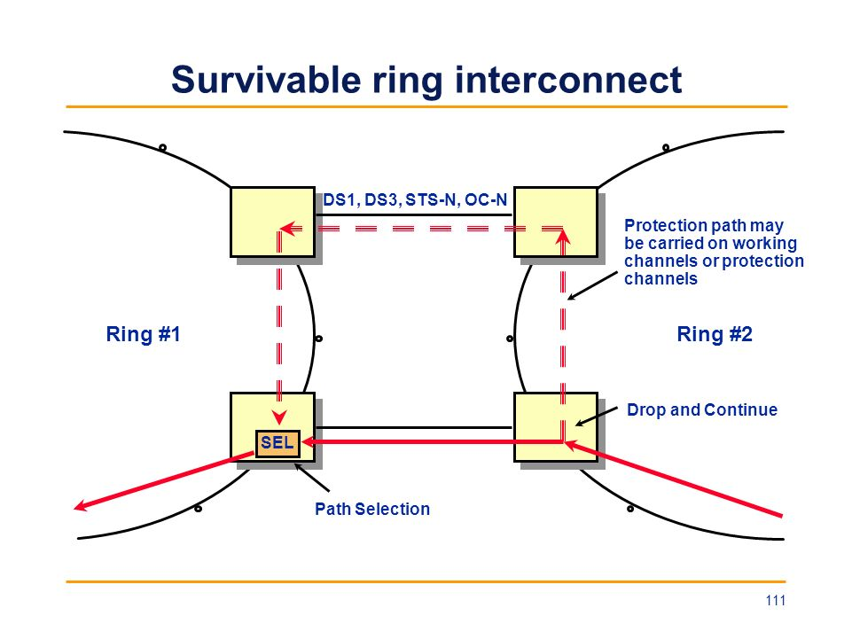 Survivable ring interconnect Ring #1Ring #2 SEL Drop and Continue Path Selection Protection path may be carried on working channels or protection chan