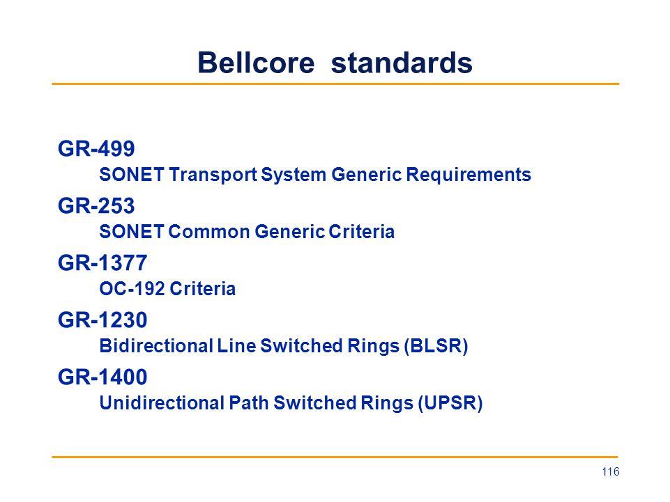 Bellcore standards GR-499 SONET Transport System Generic Requirements GR-253 SONET Common Generic Criteria GR-1377 OC-192 Criteria GR-1230 Bidirection