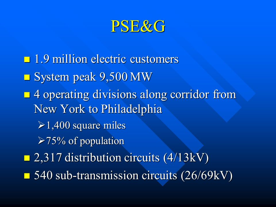 PSE&G 1.9 million electric customers 1.9 million electric customers System peak 9,500 MW System peak 9,500 MW 4 operating divisions along corridor from New York to Philadelphia 4 operating divisions along corridor from New York to Philadelphia 1,400 square miles 1,400 square miles 75% of population 75% of population 2,317 distribution circuits (4/13kV) 2,317 distribution circuits (4/13kV) 540 sub-transmission circuits (26/69kV) 540 sub-transmission circuits (26/69kV)