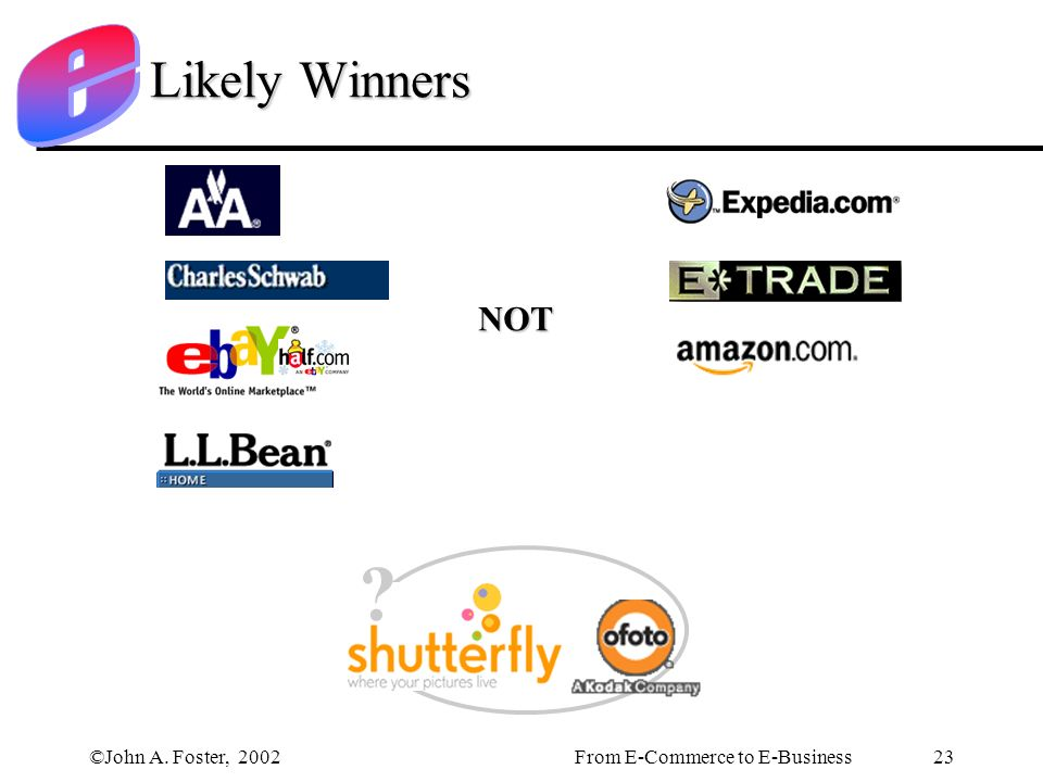 ©John A. Foster, 2002From E-Commerce to E-Business 23 Likely Winners NOT