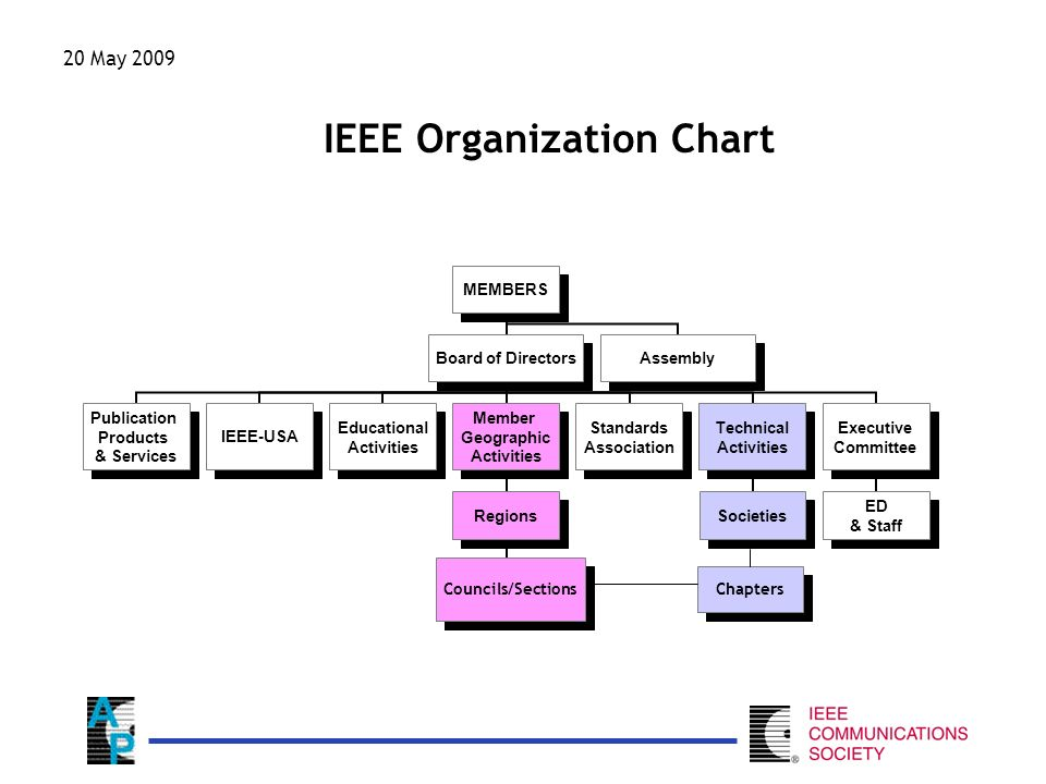 IEEE Organization Chart MEMBERS Board of Directors Publication Products & Services IEEE-USA Educational Activities Member Geographic Activities Regions Sections Standards Association Technical Activities Societies Executive Committee ED & Staff Assembly Councils/Sections Chapters 20 May 2009