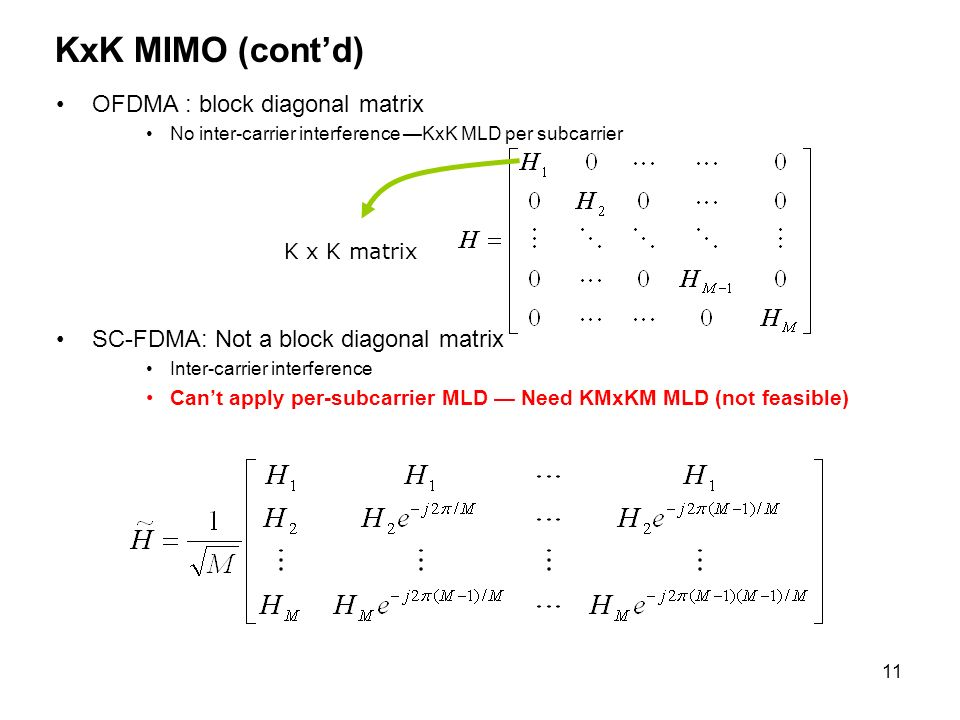 11 KxK MIMO (contd) OFDMA : block diagonal matrix No inter-carrier interference KxK MLD per subcarrier SC-FDMA: Not a block diagonal matrix Inter-carrier interference Cant apply per-subcarrier MLD Need KMxKM MLD (not feasible) K x K matrix