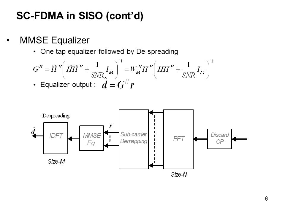 6 SC-FDMA in SISO (contd) MMSE Equalizer One tap equalizer followed by De-spreading Equalizer output :