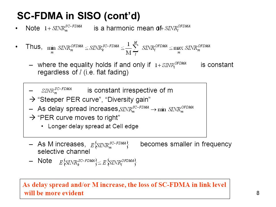 9 Link-Level Simulation Results In frequency-selective fading, the loss due to loss of orthogonality is noticeable –Delay spread=CP, rms delay spread=CP/4, exponential decaying delay profile 3 dB loss SC-FDMA OFDMA