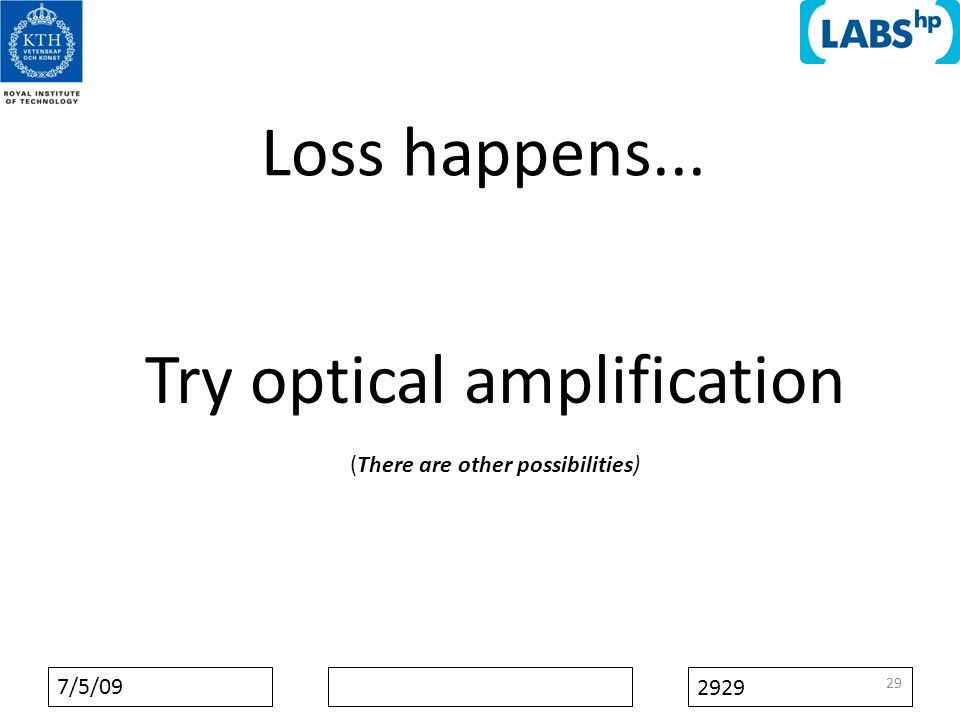 7/5/09 2929 Loss happens... 29 Try optical amplification (There are other possibilities)