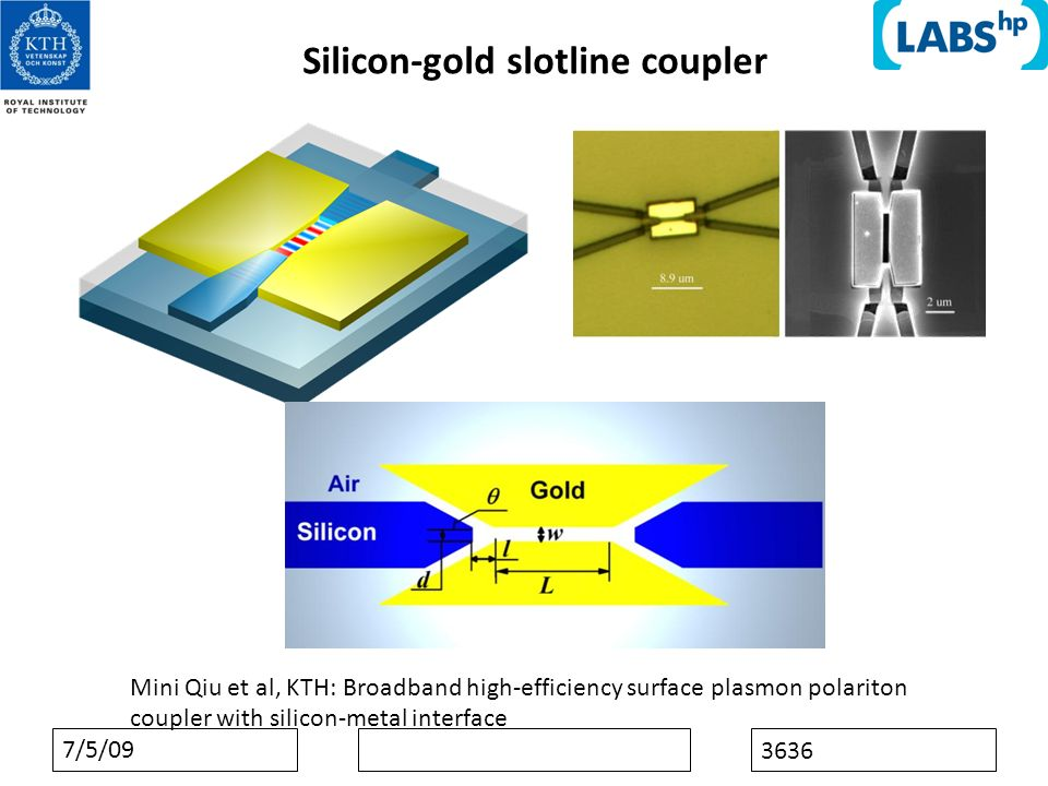 7/5/09 3636 Silicon-gold slotline coupler Mini Qiu et al, KTH: Broadband high-efficiency surface plasmon polariton coupler with silicon-metal interface