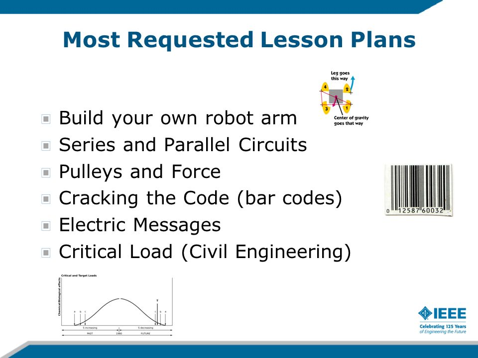Most Requested Lesson Plans Build your own robot arm Series and Parallel Circuits Pulleys and Force Cracking the Code (bar codes) Electric Messages Cr