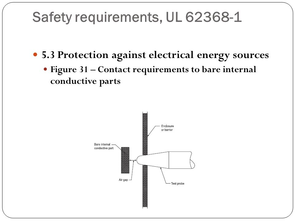 Safety requirements, UL 62368-1 5.3 Protection against electrical energy sources Figure 31 – Contact requirements to bare internal conductive parts