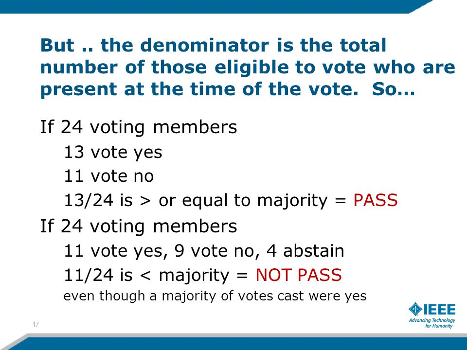 But.. the denominator is the total number of those eligible to vote who are present at the time of the vote. So… If 24 voting members 13 vote yes 11 v