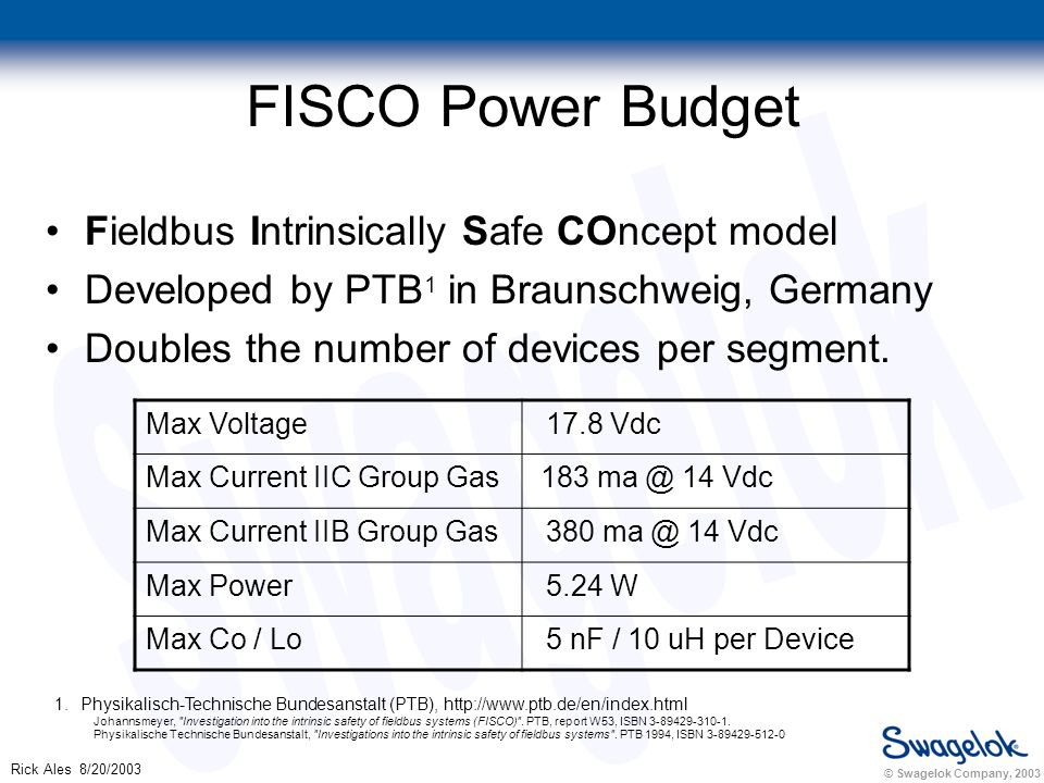 © Swagelok Company, 2003 Rick Ales 8/20/2003 FISCO Power Budget Fieldbus Intrinsically Safe COncept model Developed by PTB 1 in Braunschweig, Germany Doubles the number of devices per segment.