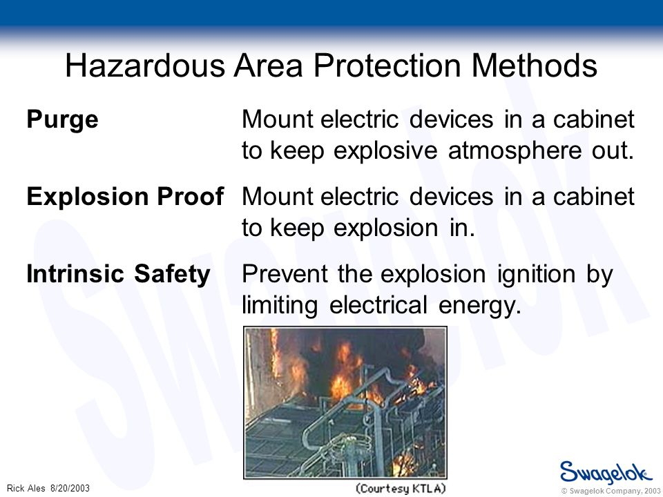 © Swagelok Company, 2003 Rick Ales 8/20/2003 Hazardous Area Protection Methods Purge Mount electric devices in a cabinet to keep explosive atmosphere out.