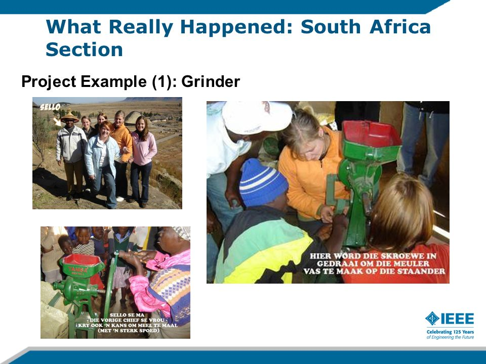 Project Example (1): Grinder What Really Happened: South Africa Section
