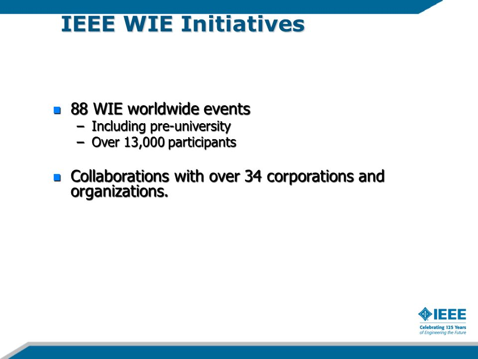IEEE WIE Initiatives 88 WIE worldwide events 88 WIE worldwide events –Including pre-university –Over 13,000 participants Collaborations with over 34 corporations and organizations.
