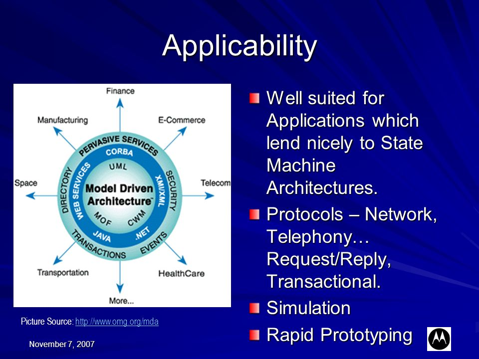 November 7, 2007 Applicability Well suited for Applications which lend nicely to State Machine Architectures. Protocols – Network, Telephony… Request/