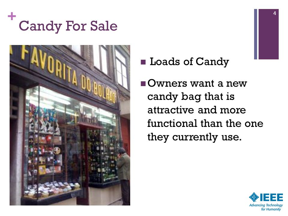 + Candy For Sale Loads of Candy Owners want a new candy bag that is attractive and more functional than the one they currently use. 4