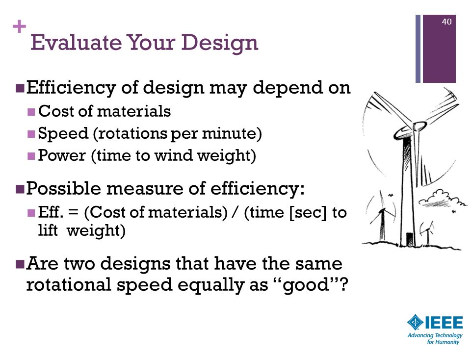 + Evaluate Your Design Efficiency of design may depend on Cost of materials Speed (rotations per minute) Power (time to wind weight) Possible measure