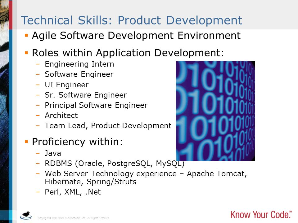 Copyright © 2008 Black Duck Software, Inc. All Rights Reserved. Technical Skills: Product Development Agile Software Development Environment Roles wit