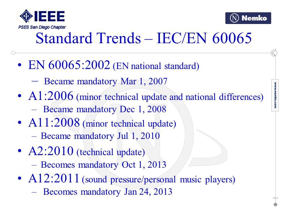 EN 60065:2002 (EN national standard) – Became mandatory Mar 1, 2007 A1:2006 (minor technical update and national differences) – Became mandatory Dec 1